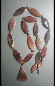 "28"" Vintage Graduated Carnelian Montana Moss Agate Beaded Necklace"