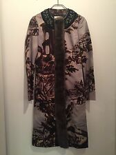 PRADA MIU MIU Coat Mink Silk Runway Logo Jeweled Size 38 XS 2  RARE