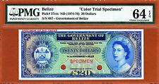 Belize QEII $20 Blue COLOR TRIAL Specimen 1974-76 Pick-37ct Ch UNC PMG 64 EPQ