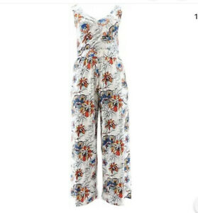 G Giuliana Knit Jumpsuit White Floral Petite Small NEW
