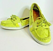 Coach Rainey Womens 9.5 B Leather Canvas Boat Nautical Loafer Lime Green Shoes