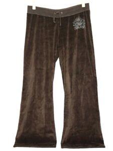 Juicy Couture Women's Solid Brown Velour Track Rhinestones Logo Pants Sz Medium