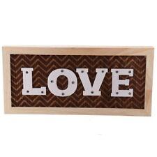 LOVE Wand-Deko mit 14 LED 14x30cm Dekoschild Leuchtdeko beleuchtetes Holz - Bild