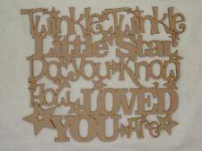 Twinkle Twinkle Little Star Wooden Phrase Quote Words Blank