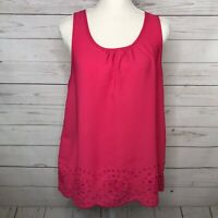 Ann Taylor LOFT Womens Tank Top Pink Scoop Neck Floral Eyelet Size S Small
