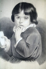 DESSIN ORIGINAL-MINE DE PLOMB-FUSAIN ET CRAIE-E. GAY-1870-PETITE FILLE-PAIN-