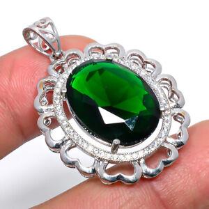 "Emerald Quartz & Cz Gemstone 925 Sterling Silver Jewelry Pendant 1.6"" P548-111"