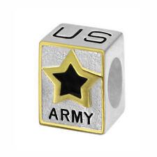 US Army Logo 925 Sterling Silver Bead fits European Modular Charm Bracelets