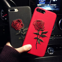 Women Elegant Embroidery Rose Flower Case Shell Cover For iPhone 6s Plus 7 7Plus