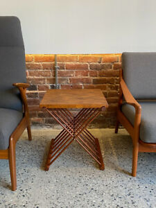 Mid Century Folding Solid Teak Side / End Table Circa 1960s