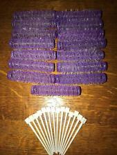 "Lot 15 old style brush spring mesh hair curlers rollers 5/8"" x 3"" purple skinny"