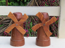 Antique Primitive Wooden WINDMILL Salt & Pepper Shakers UNIQUE OOAK Handcrafted