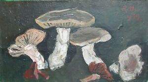 "Richard Hackett ""Mushrooms"" Original Oil Painting 1973"