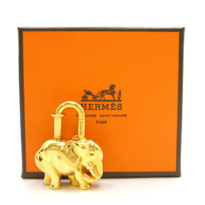 Authentic HERMES Elephant Motif Cadena Lock Bag Charm Gold Tone Brass #K310086
