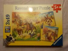 "3 x 49 Teile Ravensburger Puzzle  ""Im wilden Westen""  3 Puzzles inkl. 3 Mini-Pos"