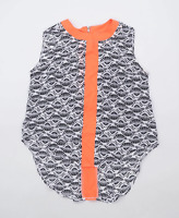 Izabel London Womens Size 8 Geometric Grey Orange Top (Regular)