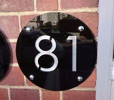 Numero di porta targa incisa Moderno Acrilico / aluinium effetto Grande Rotonda 25 cm
