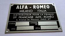 Plaque constructeur Alfa Romeo-Alfa Romeo vin plate-Alfa Romeo typenschild