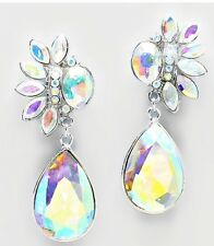 "2.75"" BiG Long CLIP ON Rhinestone Crystal Silver AB Aurora Borealis Earrings"