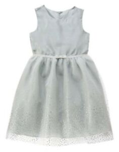 GYMBOREE BEST IN BLUE GRAY w/ SILVER SPARKLE TULLE DRESSY DRESS 4 8 10 NWT