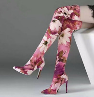 Fashion Over Knee Thigh Boots Floral Evening Stiletto High Heel Women Shoes New
