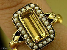 R145 Vintage insp Genuine 9K Yellow Gold Citrine & Pearl Cluster Ring size N