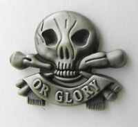 Death or Glory Skull and Cross Bones Biker Lapel Pin Pewter 1 inch