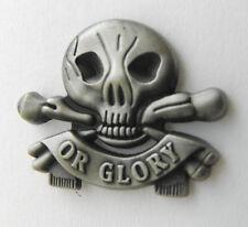 Death or Glory Skull and Cross Bones Biker Lapel Pin Pewter 1 inch
