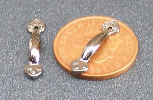 1:12 Scale 2 Black Metal Door Handles 2cm x 0.3cm Tumdee Dolls House DIY 581