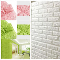 3D Foam Stone Brick Self-adhesive Wallpaper DIY Wall Home Sticker Panels Decal `