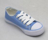 NUEVO mujer niña Planos Con Cordones Zapatillas De Lona Talla