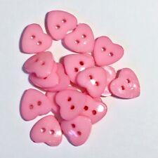 25 pcs 15mm light pink heart 2 hole acrylic buttons / sewing supplies