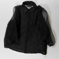 Eloquii Black Swiss Dot Puff Long Sleeve Sheer Chiffon Collared Blouse Shirt Top