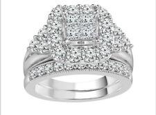 H Samuel 9ct White Gold 2.00ct Carat Diamond Ring Perfect Fit Bridal Set N