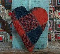 Primitive Heart Pillow Antique Coverlet Rustic Americana Farmhouse Blue Red