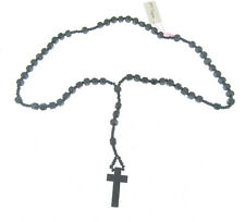 Wooden Rosary Style Square Bead Necklace in black (frd1)