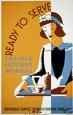 "WPA 'Ready to Serve' Maid Waitress 1939 USA 12x8"" Vintage Retro Reprint Poster"