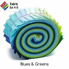 "20 x 2.5"" Blues & Greens Jelly Roll PreCut Fabric Strips, 2.5"" x WOF, Die Cut"