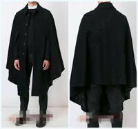 Men's Woolen Jacket Cape Cloak Shawl Outwear Coat Single Breasted  Loose Plain