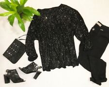 AMY K SU NORDSTROM Black Sequin Sweater Sparkle Women's Large L Long Sleeve Top