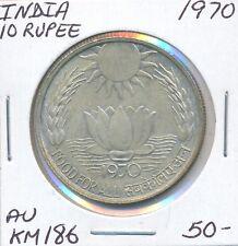 INDIA 10 RUPEE  1970  KM 186  -  AU