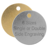 ROUND SILVER/GOLD DOG & CAT ID DISC NAME DISC PERSONALISED PET IDENTITY ENGRAVED