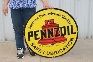 """Large Pennzoil Motor Oil Gas Station 30"""" Porcelain Metal Sign"""