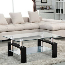 New Design Glass Top Black Legs Coffee Table Rectangular Chrome Bars Living Room