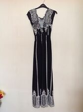 ladies black and cream empire line maxi dress with cap sleeves size small