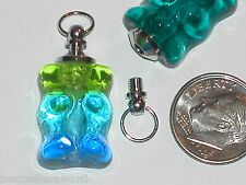 1pc Miniature small Glass Gummi Bear BOTTLE gummy perfume vial charm pendant NEW