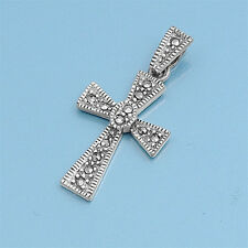 Cross with Marcasite Pendant Sterling Silver 925 Religious Symbols Jewelry Gift
