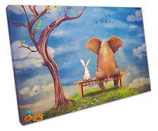 LAPIN et Elephant sur banc TOILE murale ART Photo Large 75 x 50 cm