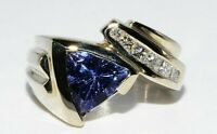 "$5,000 2.00CT NATURAL ""AAA"" TANZANITE & WHITE DIAMOND ENGAGEMENT RING 14K GOLD"