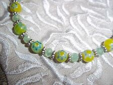 7 1/2 in Green & Yellow Glass & Green Crystal Bead Magnetic Clasp Bracelet N-74